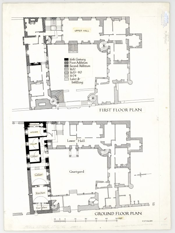 Plan of ground and first floor, Argyll's Lodging, Stirling.