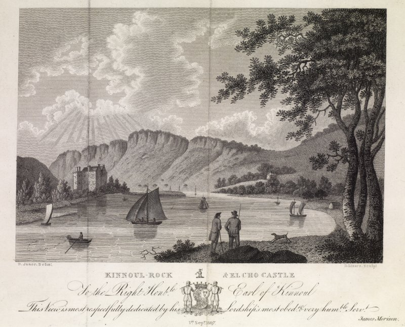 View of River Tay and  Kinnoull Hill with Elcho Castle on left. Titled: 'Kinnoul-Rock & Elcho Castle'