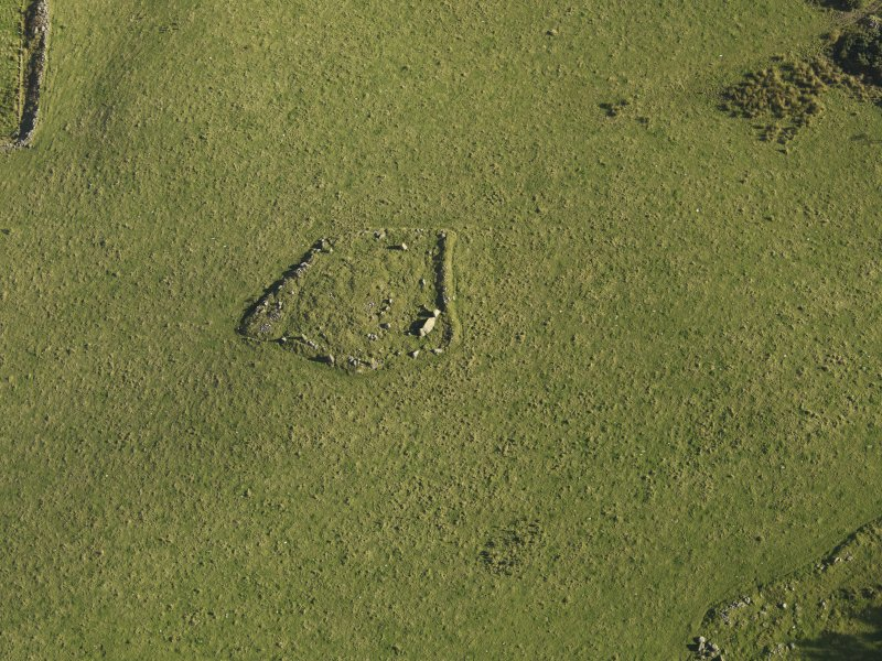 Oblique aerial view of the remains of Elsie the Greater Recumbent Stone Circle, taken from the SSW.