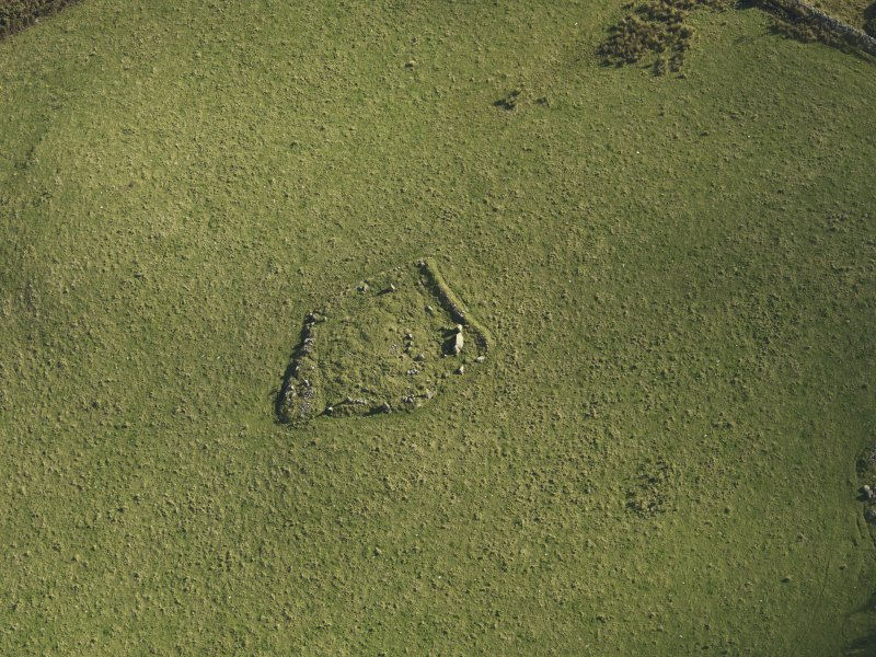 Oblique aerial view of the remains of Elsie the Greater Recumbent Stone Circle, taken from the W.