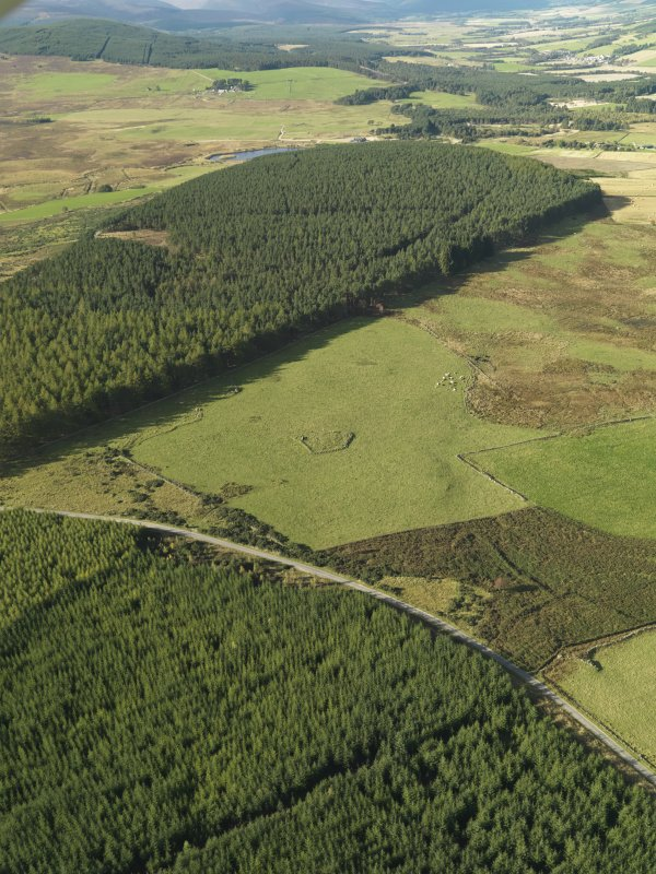 General oblique aerial view looking across the remains of Elsie the Greater Recumbent Stone Circle, taken from the NE.