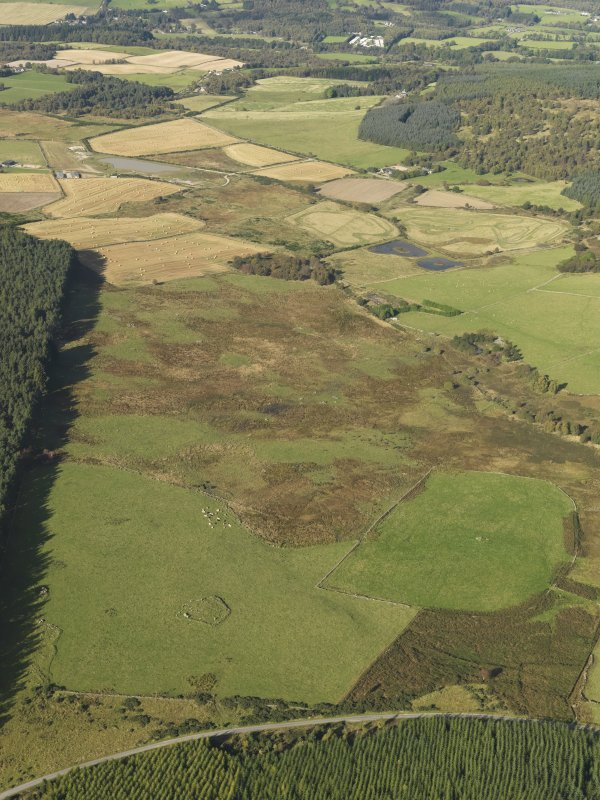 General oblique aerial view of the remains of Elsie the Greater Recumbent Stone Circle, taken from the ESE.