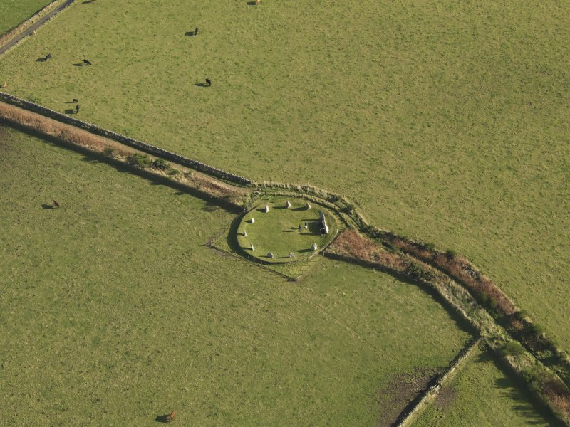 Oblique aerial view of East Aquhorthies recumbent stone circle, taken from the WNW.