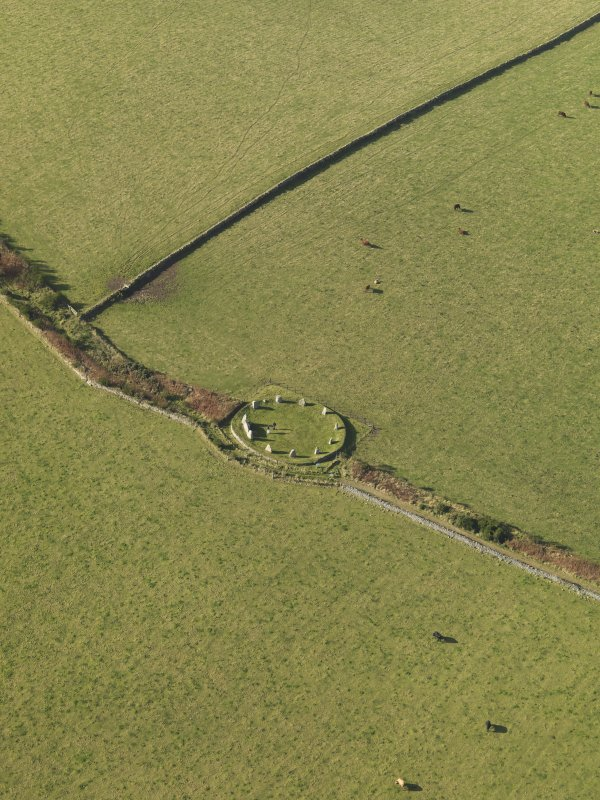 Oblique aerial view of East Aquhorthies recumbent stone circle, taken from the SE.