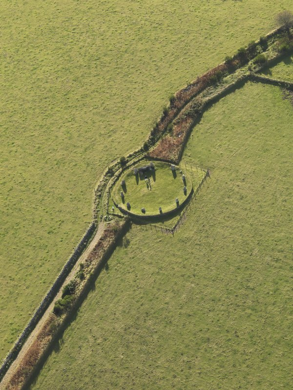 Oblique aerial view of East Aquhorthies recumbent stone circle, taken from the NE.