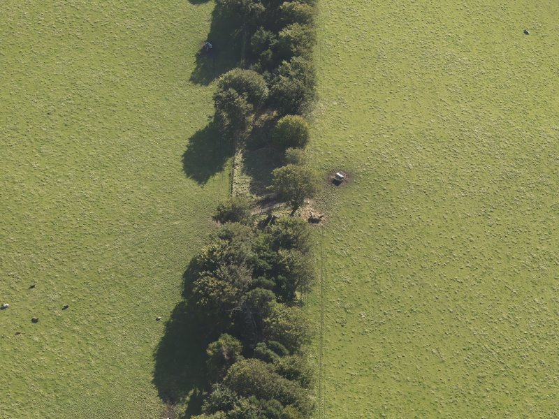 Oblique aerial view of Old Keig recumbent stone circle, taken from the NNE.