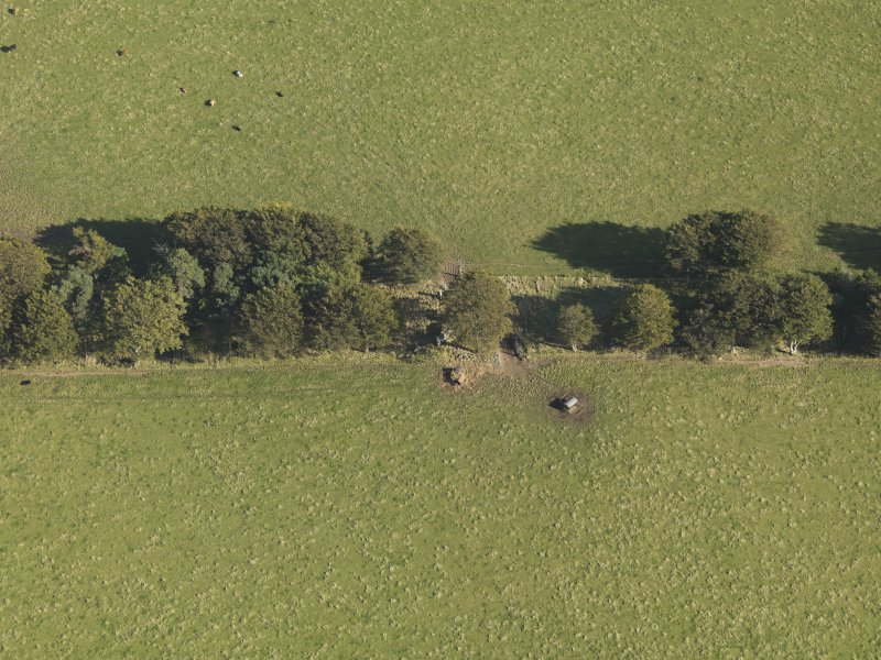 Oblique aerial view of Old Keig recumbent stone circle, taken from the W.