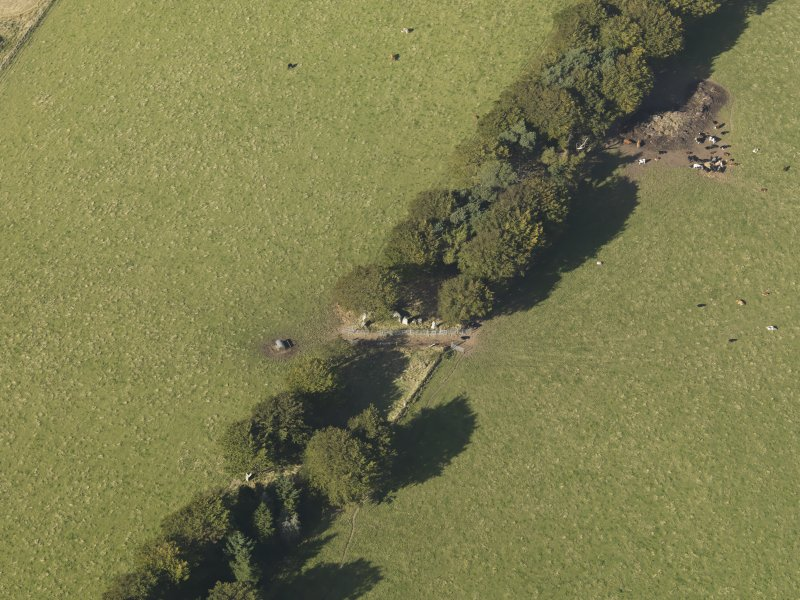 Oblique aerial view of Old Keig recumbent stone circle, taken from the S.
