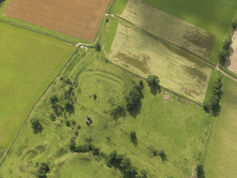 Oblique aerial view of Timpendean Tower and adjacent earthworks, taken from the NE.