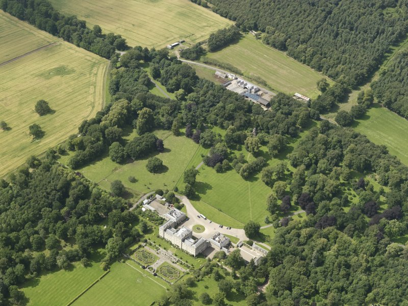 General oblique aerial view of Mellerstain House and policies, taken from the SE.