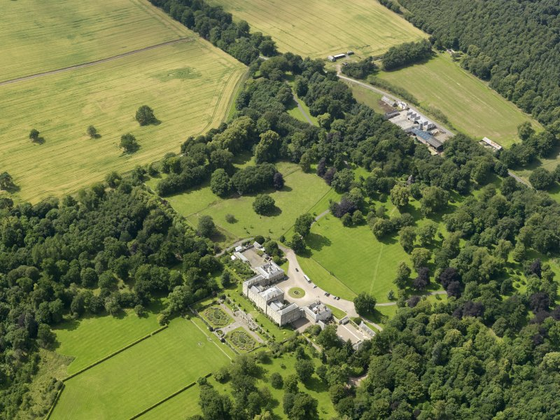 General oblique aerial view of Mellerstain House and policies, taken from the ESE.
