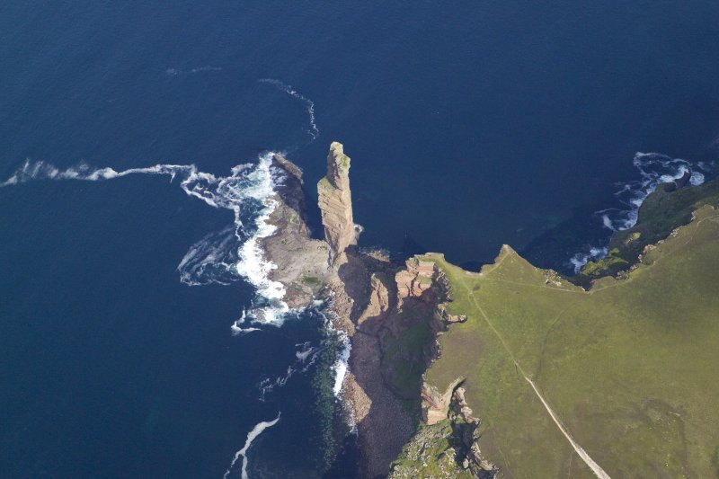 General oblique aerial view of the Old Man of Hoy, taken from the SSE.