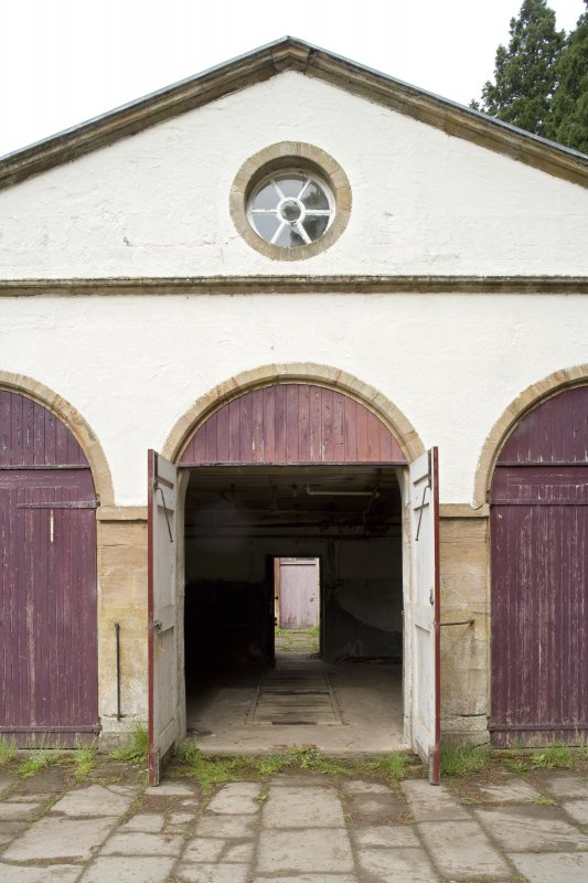 Detail of central arched opening with doors open