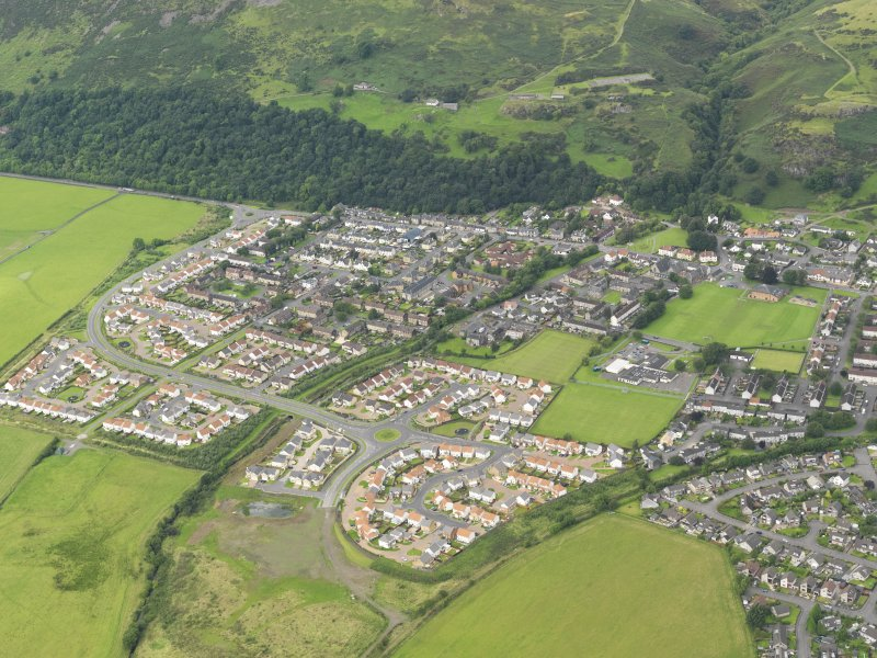 General oblique aerial view of Menstrie village, taken from the SE.