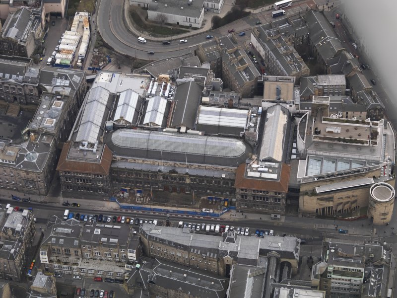 General oblique aerial view of Chambers Street centred on the Royal Museum of Scotland, taken from the NW.