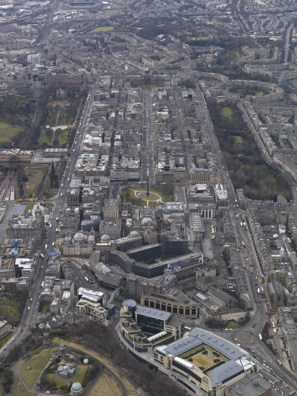 Genreal oblique aerial view of the New Town centred on St. Andrew's Square, taken from the ESE.