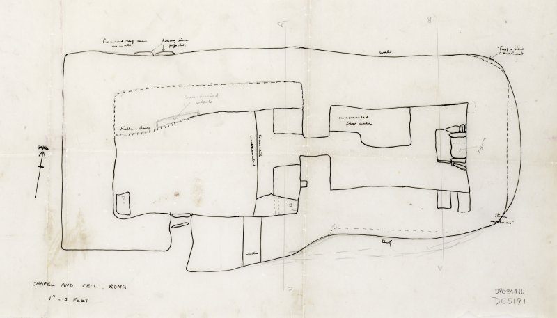 "Plan of Chapel and Cell, Ink & Pencil, 1"":2ft."