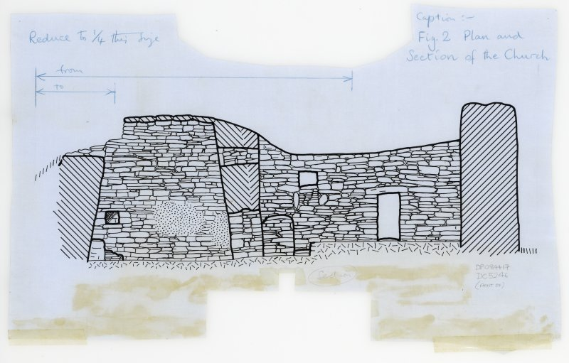 "Publication drawing, section of the church, Ink, 5"":10ft, HW83SW 1"