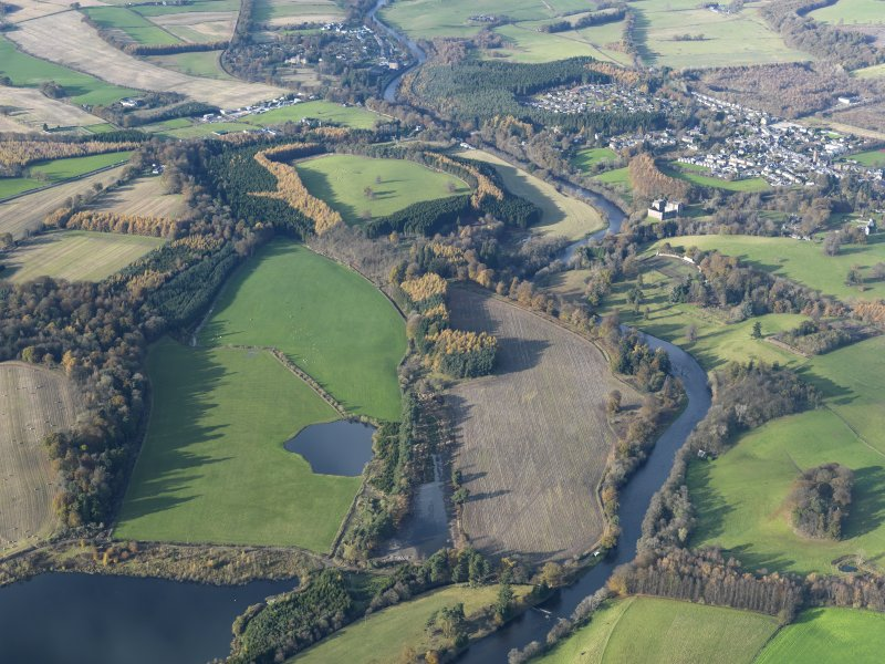 General oblique aerial view looking along the River Teith towards Doune Castle and village, taken from the SE.