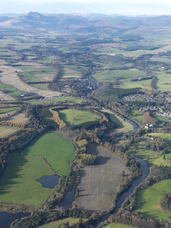General oblique aerial view looking along the River Teith towards Doune Castle and village with Ben Ledi in the distance, taken from the ESE.