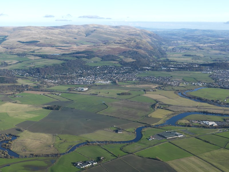 General oblique aerial looking towards The Ochils and The Wallace Monument, taken from the W.