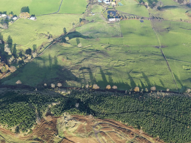 Oblique aerial view of the remains of Castlehill Wood Dun and the settlement, taken from the SW.