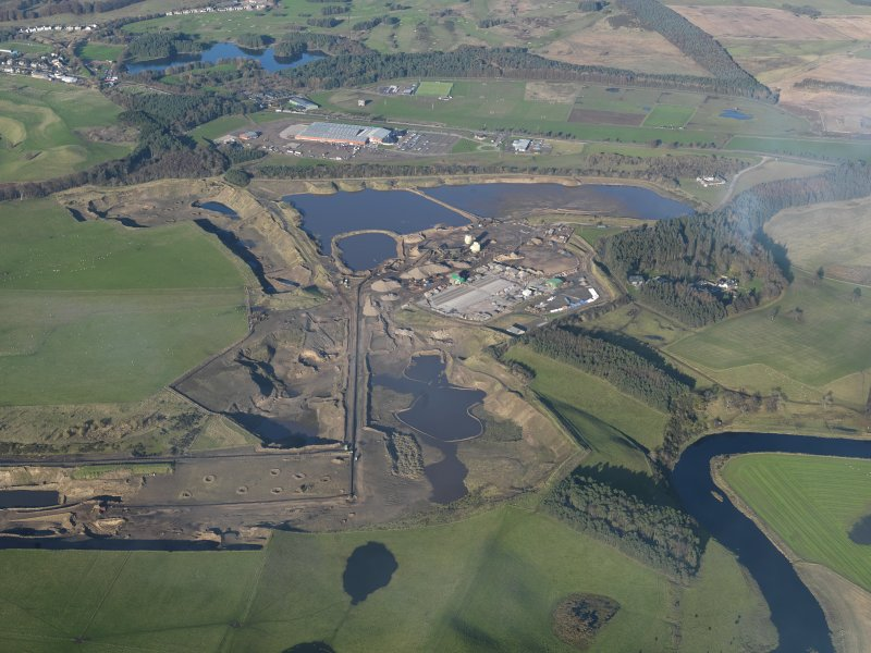 Oblique aerial view of Hyndford Quarry, taken from the S.
