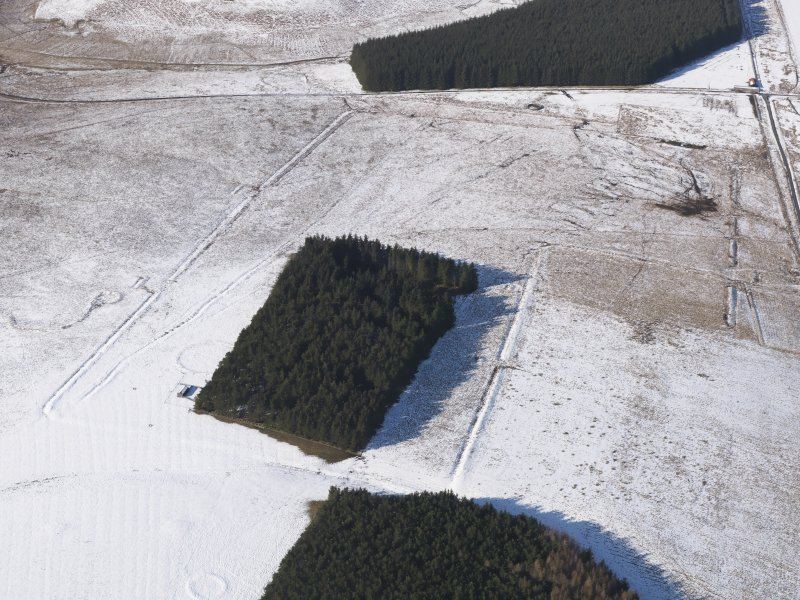 Oblique aerial view centred on the remains of the Roman Temporary Camps and the linear earthwork at Pennymuir, looking NNW.