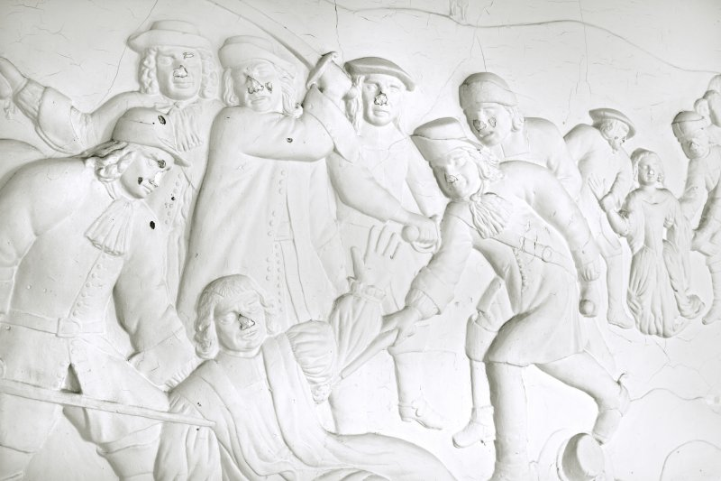 Interior. Caphouse. Panel depicting the murder of Archbisop Sharp in 1679. Detail