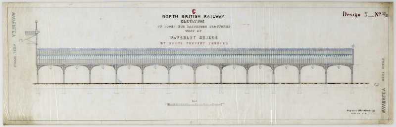 Waverley Station, Edinburgh.  Elevation of Waverley Station, Edinburgh. Titled: 'North British Railway Elevation of roofs for passenger platforms west of Waverley Bridge by using present trusses.'