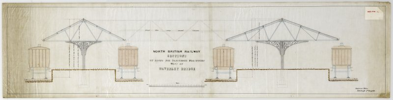 Drawing showing sections of roofs for passenger platforms, Waverley Station, Edinburgh.