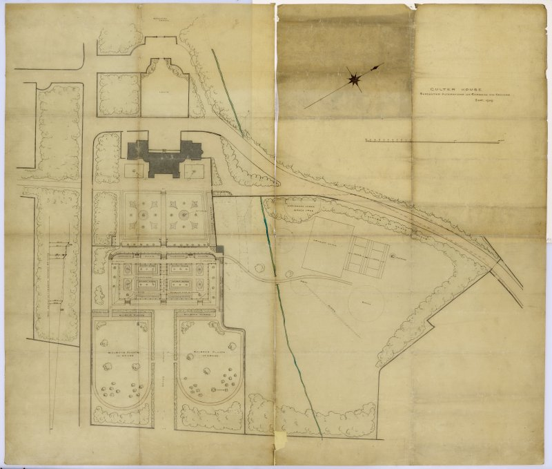 Aberdeen, Culter House & Gardens. Plan of Gardens and Grounds. Ttiled: 'Suggested alterations, plan of Gardens & Ground'.