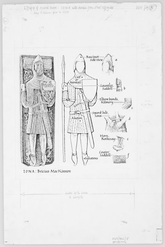 Drawing of the effigy to Bricius MacKinnon, now in Iona Abbey Museum, and a composite drawing with annotated details of armour. Titled: 'Effigy of Armed Man, Iona with details from other effigies.  Arms & Armour prior to 1500'.