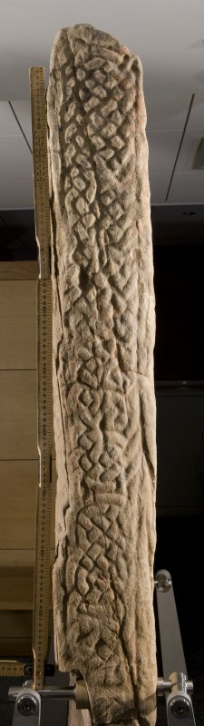 Detail of edge of cross slab with interlace pattern (with scale)