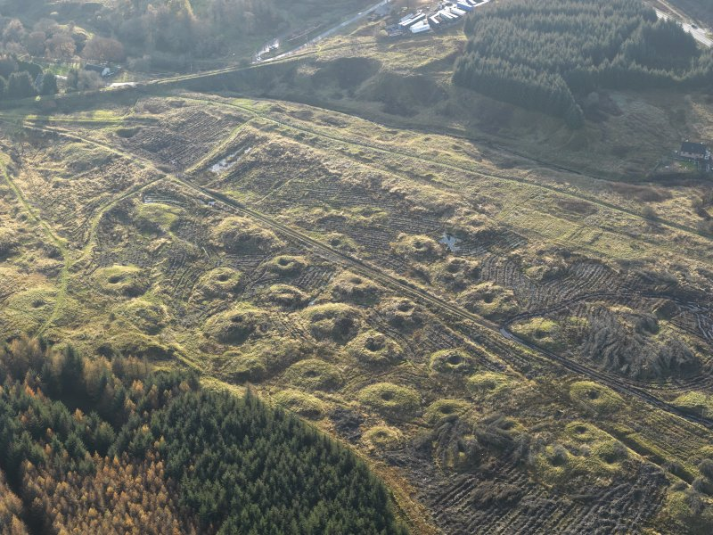 Oblique aerial view of the remains of the Wilsontown mine workings after clearance of trees, taken from the NE.