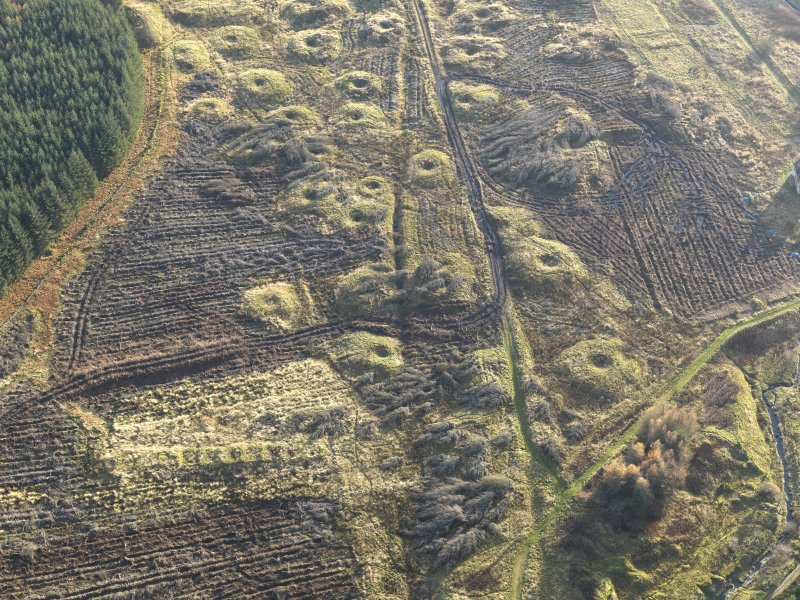 Oblique aerial view of the remains of the Wilsontown mine workings after clearance of trees, taken from the N.