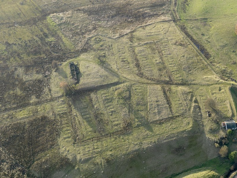 Oblique aerial view of the remains of the village of Haywood, taken from the ENE.