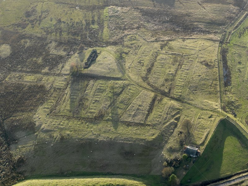Oblique aerial view of the remains of the village of Haywood, taken from the NE.