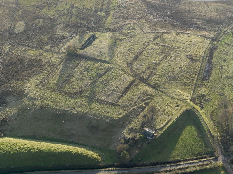 Oblique aerial view of the remains of the village of Haywood, taken from the NNE.