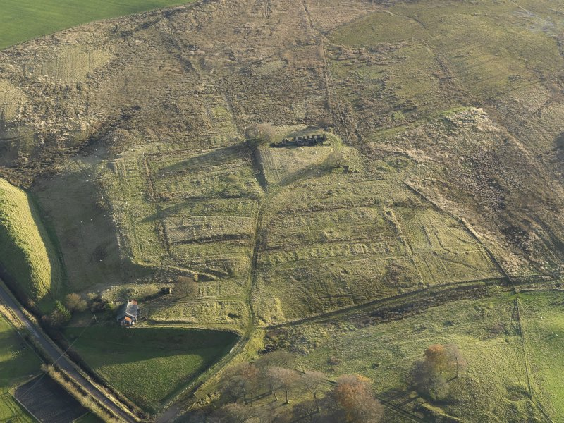 Oblique aerial view of the remains of the village of Haywood, taken from the N.