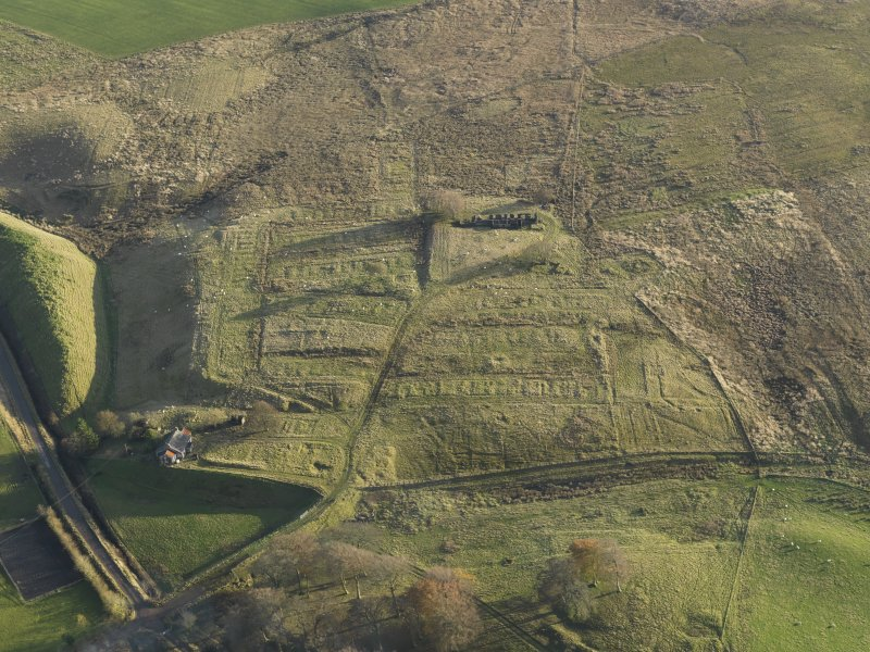 Oblique aerial view of the remains of the village of Haywood, taken from the NNW.