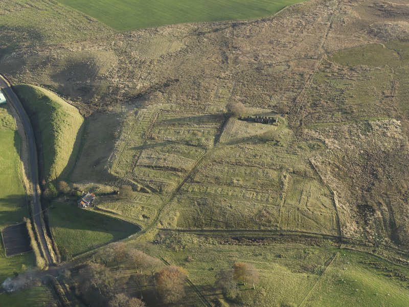 Oblique aerial view of the remains of the village of Haywood, taken from the NW.