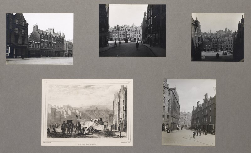 Card folder containing photographs of the Grassmarket and Candlemaker Row. Front cover has pencil notes describing the photographs inside. Edinburgh Photographic Society Survey of Edinburgh and District , Ward XVI George Square.