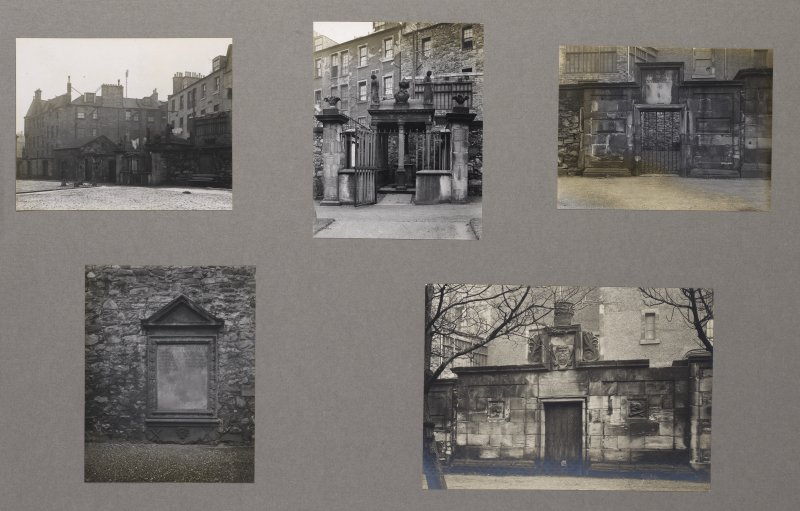 Card folder containing photographs of Greyfriars Churchyard. Front cover has pencil notes describing the photographs inside. Edinburgh Photographic Society Survey of Edinburgh District, Ward XIV, George Square.