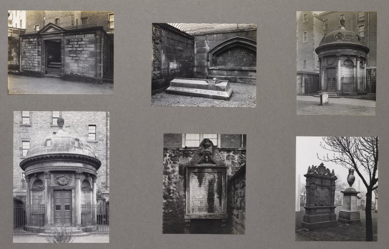 Card folder containing photographs of Greyfriars Churchyard. Front cover has pencil notes describing the photographs inside. Edinburgh Photographic Society Survey of Edinburgh District, Ward XIV George Square.