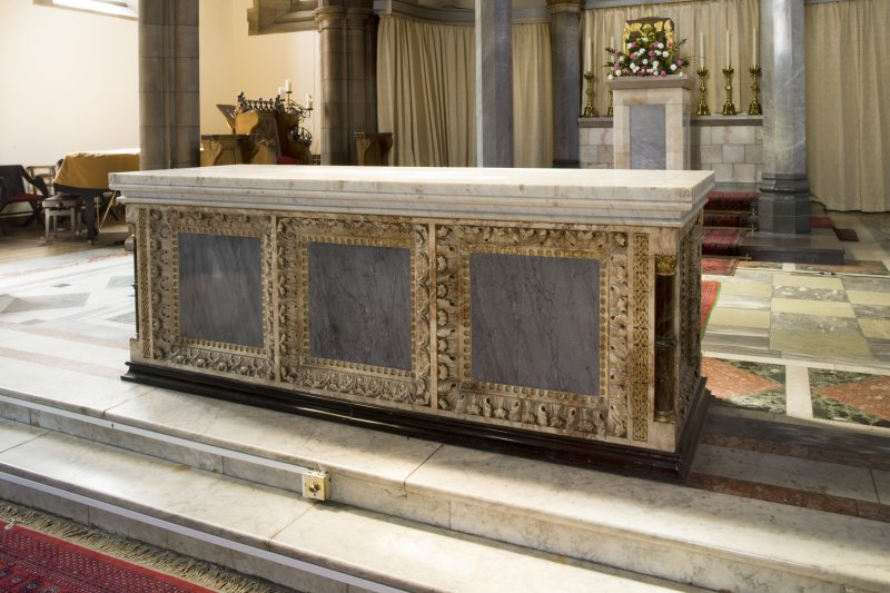 Interior. Sanctuary, detail of marble altar