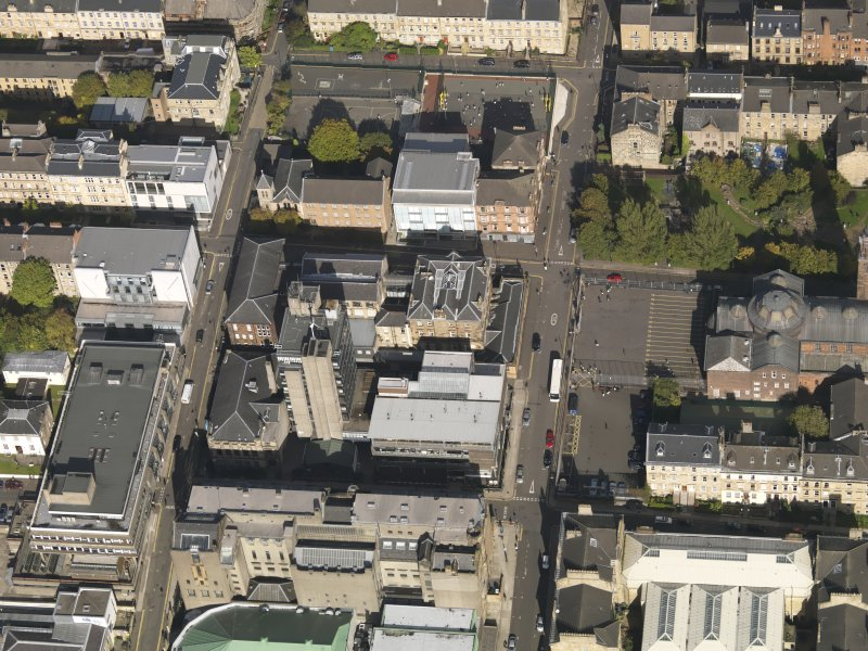 General oblique aerial view of Garnethill, centred on Glasgow School of Art, taken from the S.