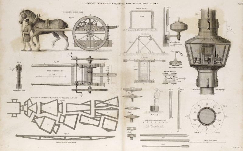 Engraving showing details of sling carts, lanterns, railways etc for the Bell Rock Works Titled: 'Certain implements connected with the Bell Rock Works'