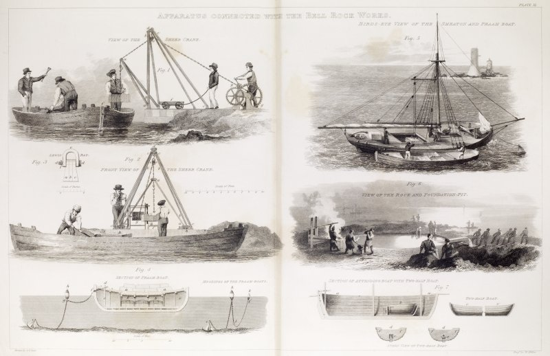 Engraving showing the Bell Rock works.  Titled: 'Apparatus Connected With the Bell Rock Works'' and also 'View of the Sheer Crane', 'Front View of the Sheer Crane', 'Section of Praam-Boat', 'Moorings of the Praam-Boats', 'View of the Rock and Foundation Pit', 'Section of Attending Boat with Two-Half Boat', 'Stern View of Two-Half Boat'.