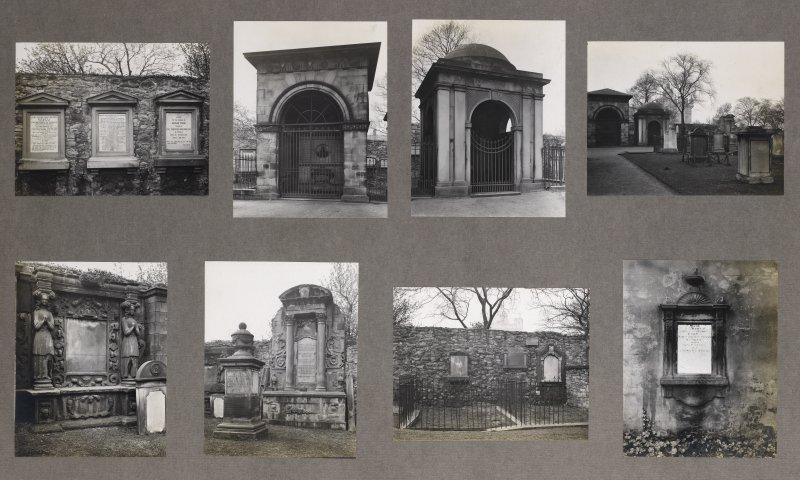 Card folder containing photographs of Greyfriars Churchyard. Front cover has pencil notes describing the photographs inside. Edinburgh Photographic Society Survey of Edinburgh District, Ward XIV, Geor ...